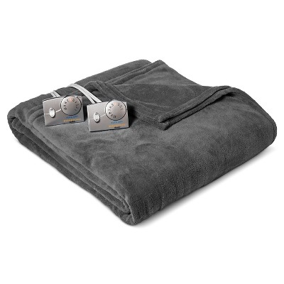 Heated Microplush Blanket Full Gray - Biddeford