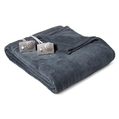 Heated Microplush Blanket Queen Blue - Biddeford