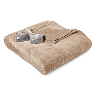 Heated Microplush Blanket Queen Taupe - Biddeford