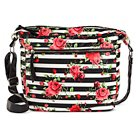 Bueno Women's Faux Leather Large Crossbody Handbag with Rose Pattern and Zip Closure - Multicolor