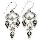 Women's Sterling Silver Leaf Motifs with Mabi Stones Earring