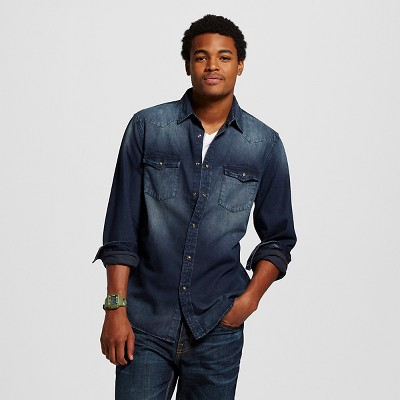 Men's Denim Button Down Acid Washed Indigo M - Mossimo Supply Co.™