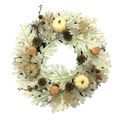 "Oak Leaf with Pumpkin Wreath (20"") Threshold™"