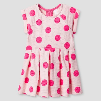 Baby Girls' Pleated Polka Dot Dress Pink 12M - Cat and Jack™
