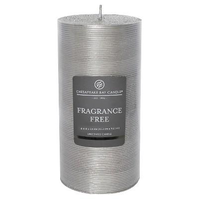 "Fragrance Free Pillar Candle Silver Stripe (6""x3"") - Chesapeake Bay"