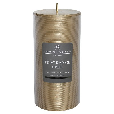 "Fragrance Free Pillar Candle Gold (6""x3"") - Chesapeake Bay"