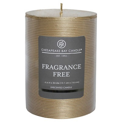 "Fragrance Free Pillar Candle Gold Stripe (4""x3"") - Chesapeake Bay"