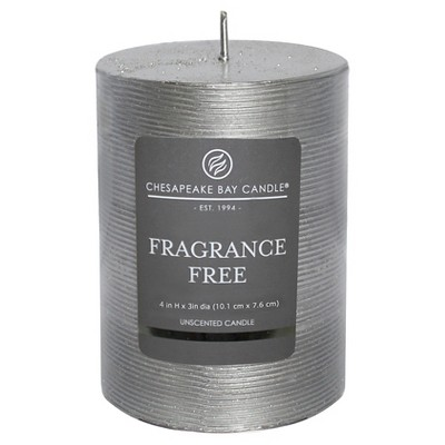 "Fragrance Free Pillar Candle Silver (4""x3"") - Chesapeake Bay"