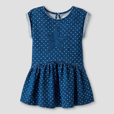 Baby Girls' Casual Elevated Dress Indigo 12M - Cat & Jack™