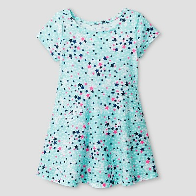 Baby Girls' A Line T-Shirt Dress Star Print Green 12M - Cat & Jack™
