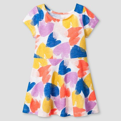 Baby Girls' A Line T-Shirt Dress Heart Print White 12M - Cat & Jack™
