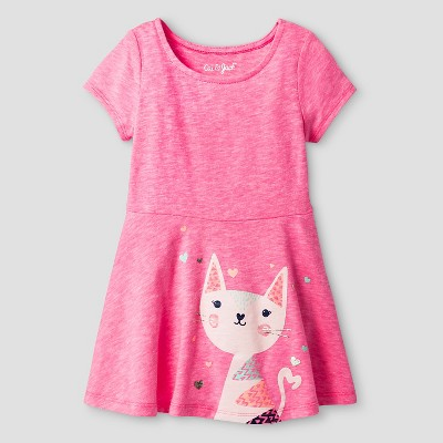 Baby Girls' Kitty A Line T-Shirt Dress Pink 12M - Cat & Jack™