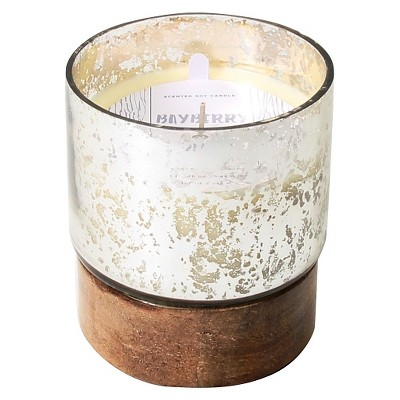 Filled Candle Silver and Wood