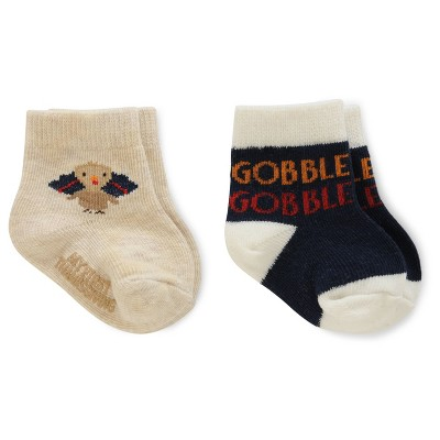 Just One You™Made by Carter's® NBB 2pk Thanksgiving Socks Grey/Blue 6-12 M