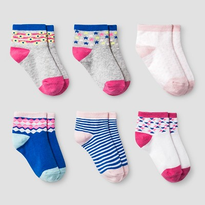 Girls' 6pk Low Cut Aztec Socks Cat & Jack™ - True White 6-12M