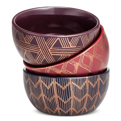 Dip Bowls Set of 3 Stoneware 4in Purple/Red/Blue - Threshold™