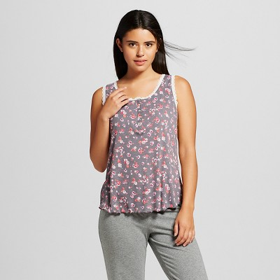Women's Ribbed Sleep Top Floral Print L - Xhilaration™