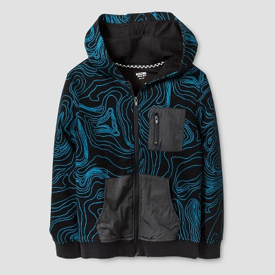 Boys' Zip Front Hoodie Black Print S - Mossimo Supply Co.™