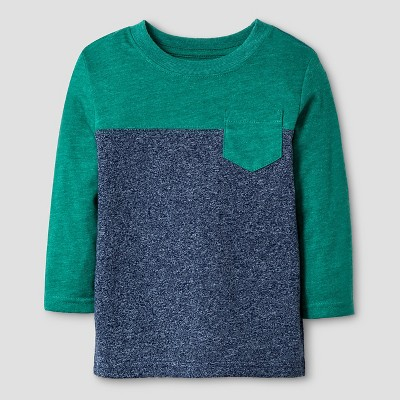 Baby Boys' Long Sleeve Colorblock T-Shirt Baby Cat & Jack™ - Green & Navy 12 M