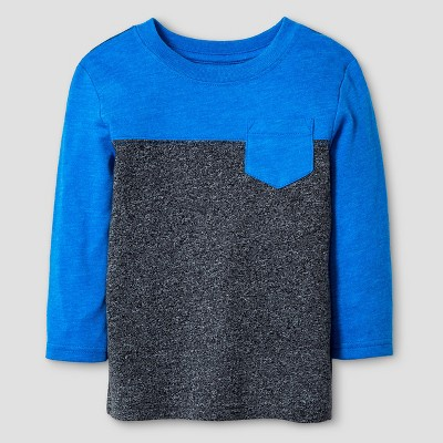 Baby Boys' Long Sleeve Colorblock T-Shirt Baby Cat & Jack™ - Blue & Black 12 M