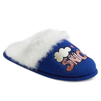 "Women's Slide Slippers ""Eye Heart Snow"" with Fleece Blue S - Xhilaration™"
