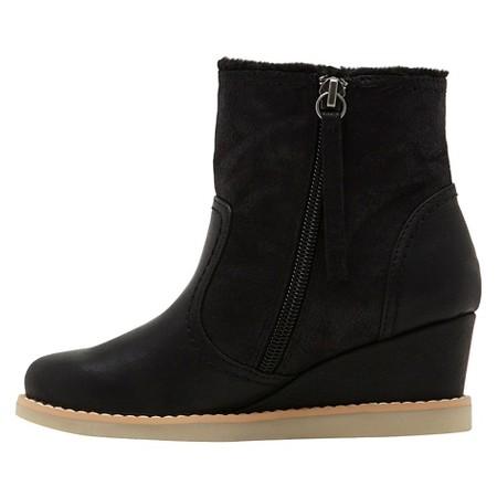 revel fur trimmed wedge boots black target