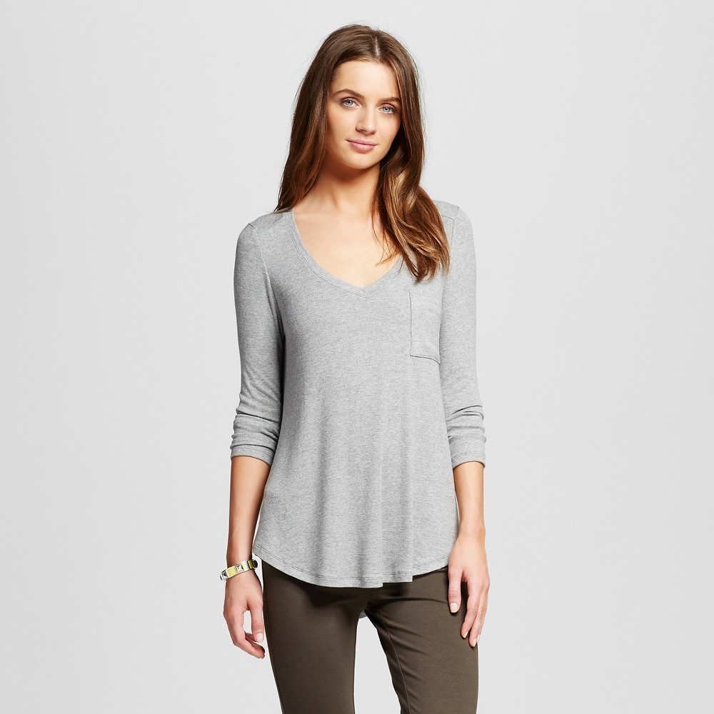 Women's Rib Swingy Tee Gray S - Merona, Size: Small, Grey