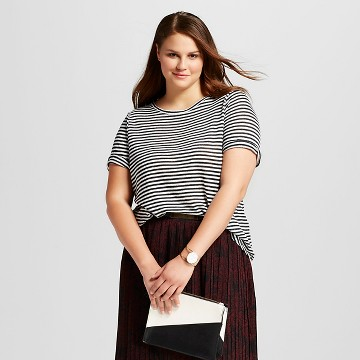 Women's Plus Size Striped Elbow Sleeve Linen Tee - Who What Wear™