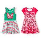 Girls' Twin Printed Jersey Skater Dress - Orange 4