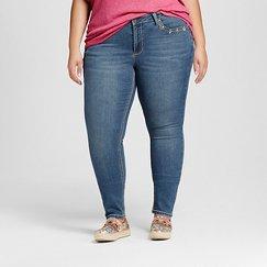 Women's Plus Size Embellished Pocket Skinny Jeans Medium Denim Wash - Earl Jean