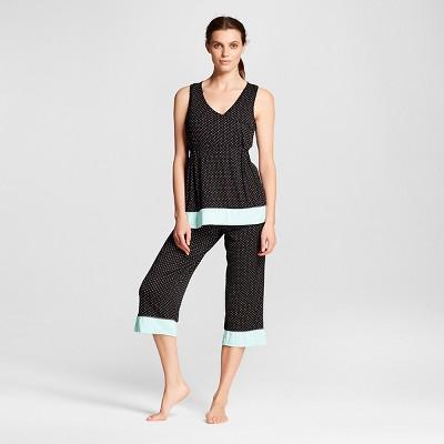 Lamaze Women's Nursing Surplice Tank and Capri Pajamas Set - Black Dot Print L