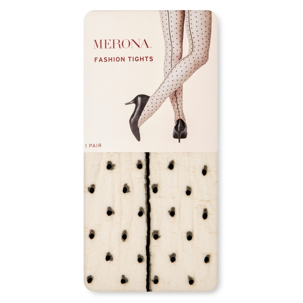 Women's Tights with Back seam Nude/Black Dots S/M - Merona