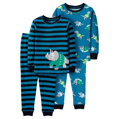 Baby Boys' 4 Piece Dino Stripe Cotton PJ Set 12M - Just One You™Made by Carter's®