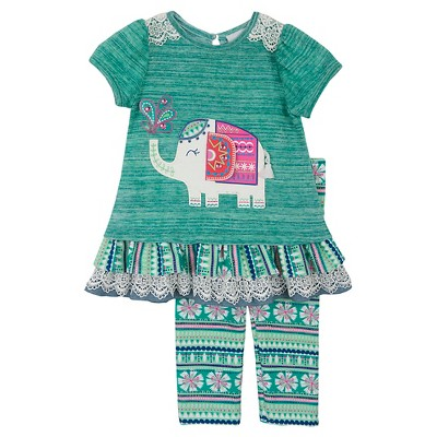 Rare, Too! Baby Girls' Elephant Top & Printed Legging Set - Teal 3-6M