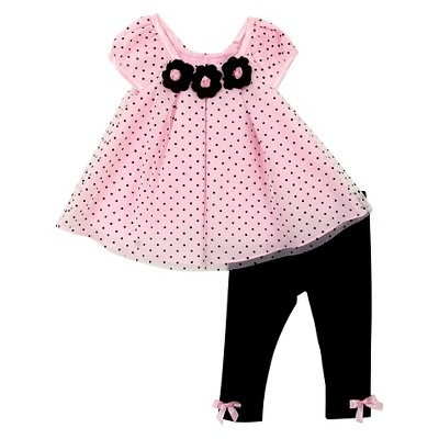 Rare, Too! Baby Girls' Flower Top & Legging Set - Pink/Black 6-9M