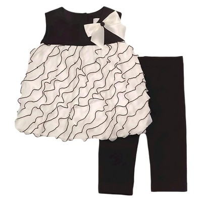 Rare, Too! Baby Girls' Top & Legging Set - Ivory/Black 6-9M