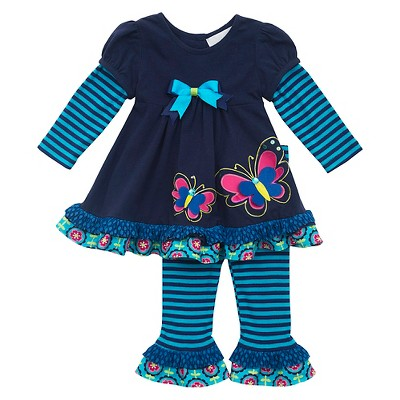 Rare, Too! Baby Girls' ButterFly Top & Legging Set - Navy/Turquoise 12M
