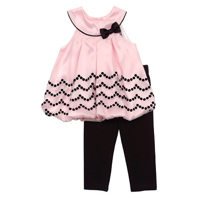 Rare, Too! Baby Girls' Bubble Top & Legging Set - Pink/Black 6-9M