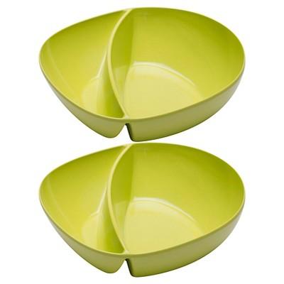 Zak! Moso 7.5in Divided Serving Bowl Kiwi - Set of 2