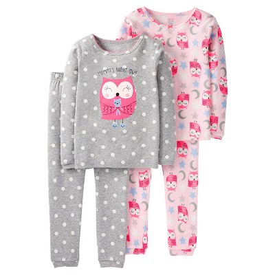 Baby Girls' 4 Piece Pink Owl Cotton PJ 18M - Just One You™Made by Carter's®