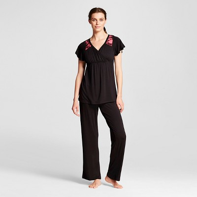 Lamaze Women's Nursing Surplice Pajamas Set - Black L