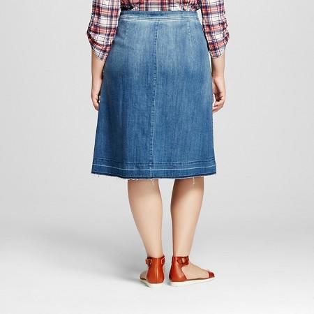 s plus size button front denim skirt