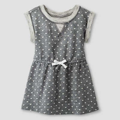 Baby Girls' A Line T-Shirt Polka Dot Dress Heather Grey 12M - Cat & Jack™