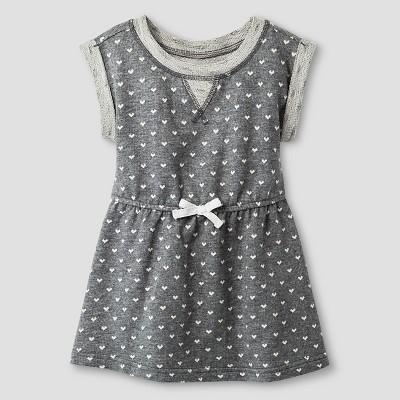 Baby Girls' A Line T-Shirt Polka Dot Dress Heather Grey 12M - Cat & Jack™