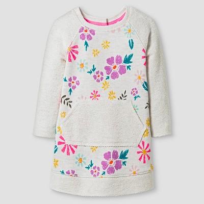 Baby Girls' 3/4 Sleeve Kangaroo Pocket Floral Dress 12M - Cat & Jack™