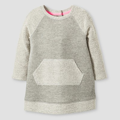 Baby Girls' 3/4 Sleeve Kangaroo Pocket Dress Grey 12M - Cat & Jack™