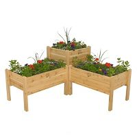 GRO Products Elevated Garden Bed Combo Red Cedar Garden Planter