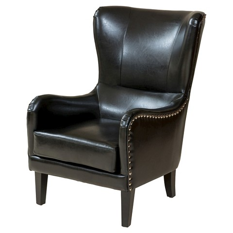 Lorenzo bonded leather studded club chair blac target for Leather studded couch