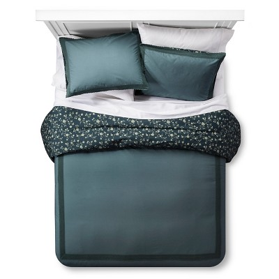Sequoia Grove Reversible Duvet Cover and Sham Set (Full/Queen) Green 3-Piece - Beekman 1802 FarmHouse™