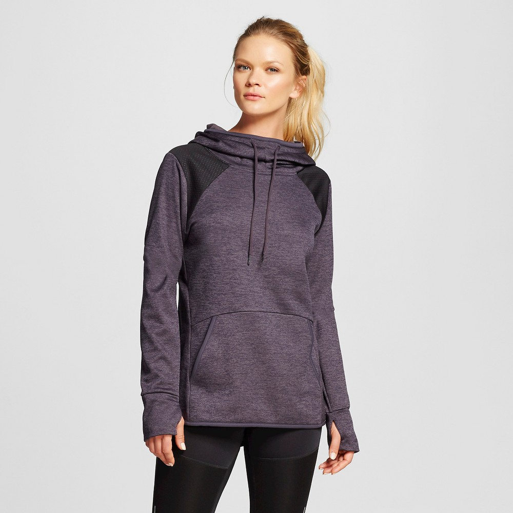 Women's Novelty Tech Fleece Hoodie - Dark Gray Heather Emboss Dots Print M - C9 Champion, Size: Medium, Dark Grey